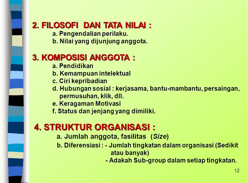 11 TAXONOMI ORGANISASI Variabel-variabelnya adalah : 1. TUJUAN (Objectives and Goals) : a. Tujuan organisasi vs Tujuan individu : konggruen atau konfl