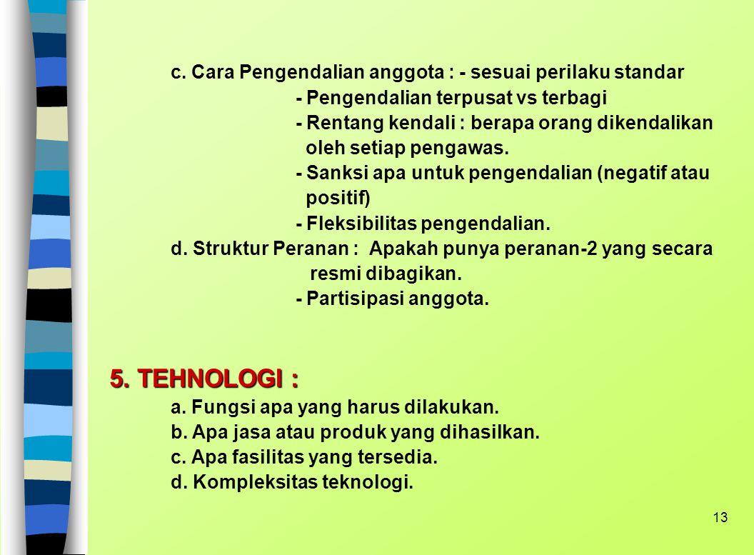 12 2. FILOSOFI DAN TATA NILAI : a. Pengendalian perilaku. b. Nilai yang dijunjung anggota. 3. KOMPOSISI ANGGOTA : a. Pendidikan b. Kemampuan intelektu