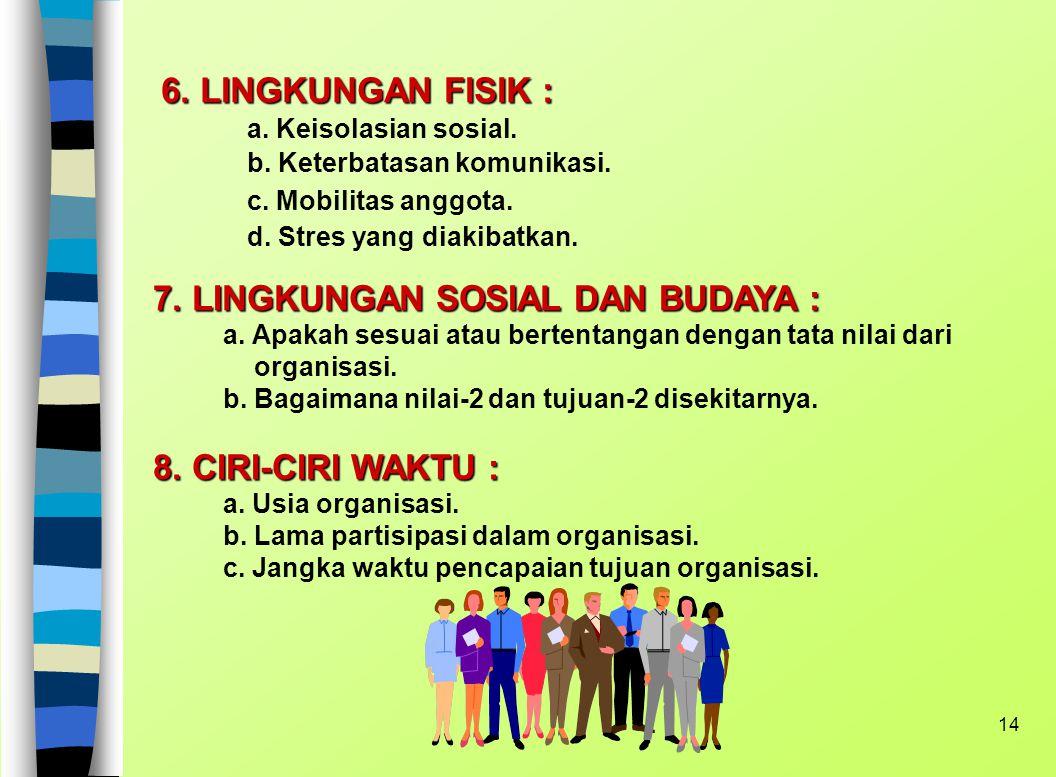 13 c. Cara Pengendalian anggota : - sesuai perilaku standar - Pengendalian terpusat vs terbagi - Rentang kendali : berapa orang dikendalikan oleh seti