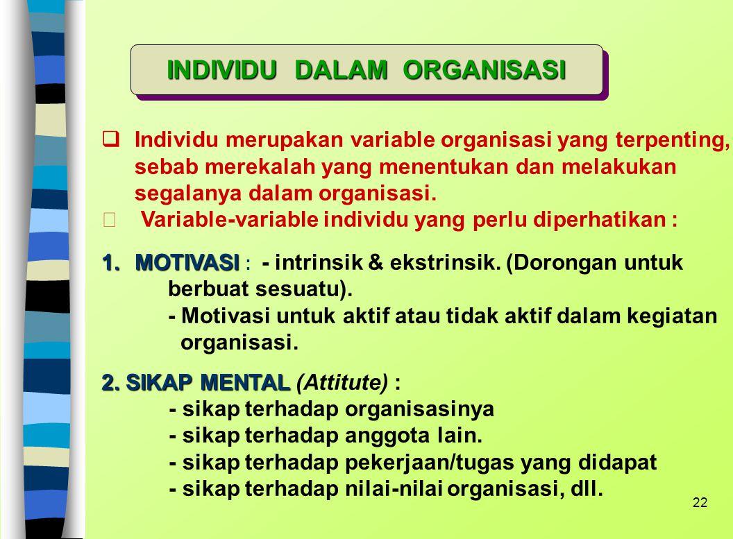 21 5. SOSIALISASI : - Bagaimana cara anggota baru diperkenalkan pada sistem ? - Cara-cara yang formal maupun informal. - Apakah proses ini dilakukan d