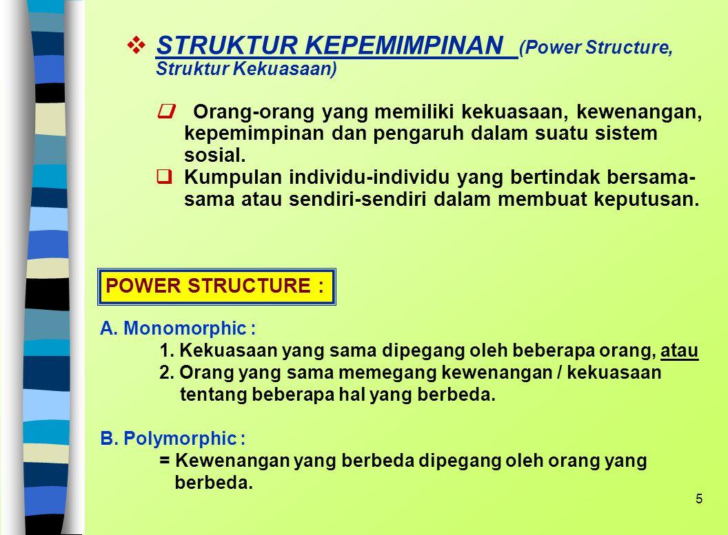 4 KEKUATAN SOSIAL (Social Power) Kekuatan Sosial adalah sumber energi yang mampu mengge- rakkan sejumlah orang ke arah yang dikehendaki oleh sumber en