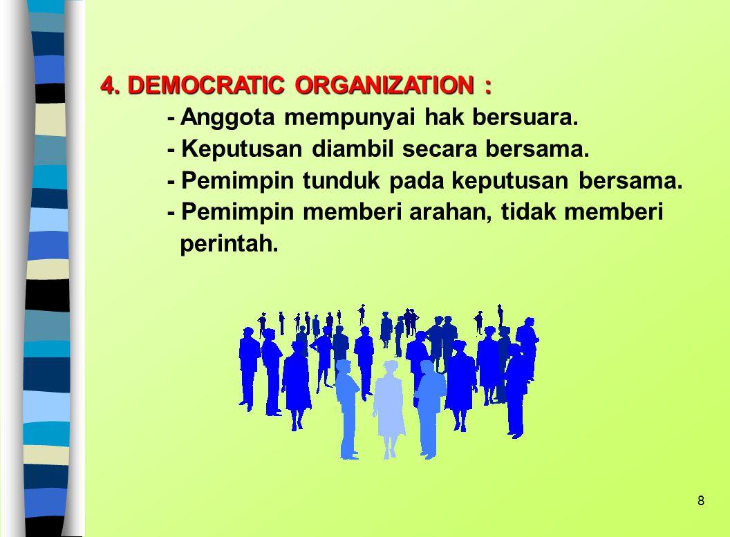 7 JENIS-JENIS ORGANISASI 1. LEADER-ORIENTED ORGANIZATION : - Putusan selalu oleh pemimpin - Pengabdian dan kepatuhan anggota diperlukan 2. PATRIARCHAL