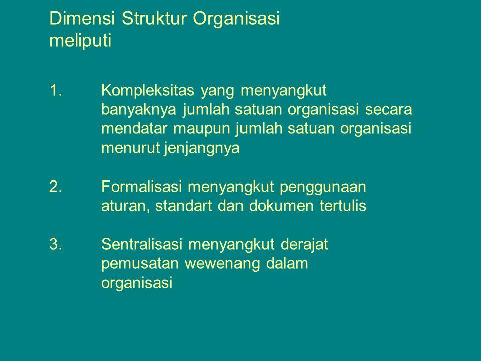 1.Dimensi Struktur Organisasi meliputi 1.
