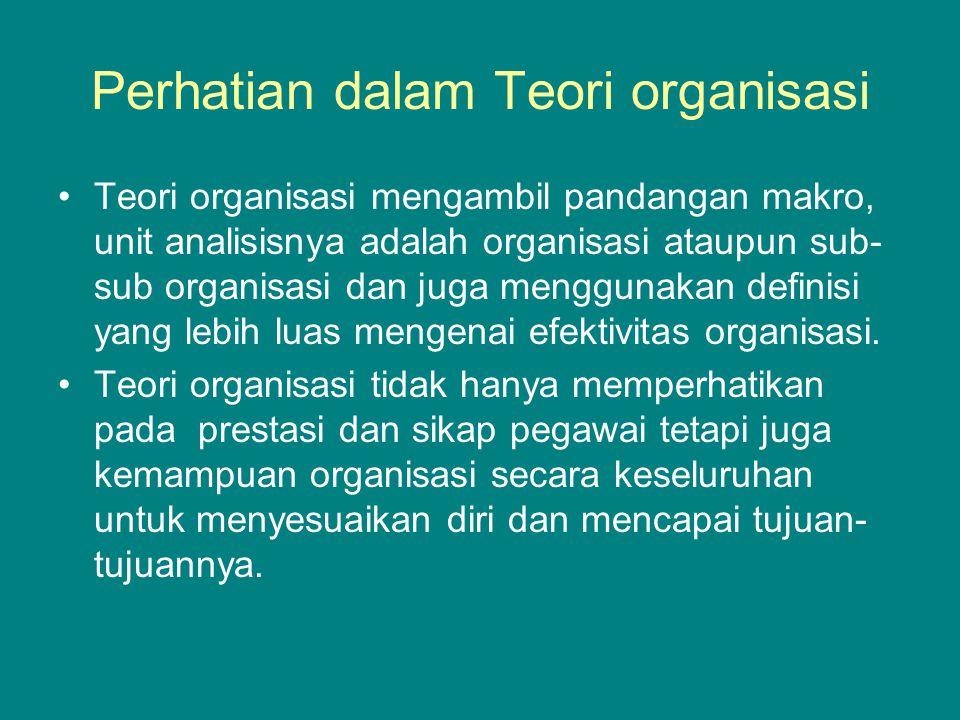 Perhatian dalam Teori organisasi Teori organisasi mengambil pandangan makro, unit analisisnya adalah organisasi ataupun sub- sub organisasi dan juga menggunakan definisi yang lebih luas mengenai efektivitas organisasi.
