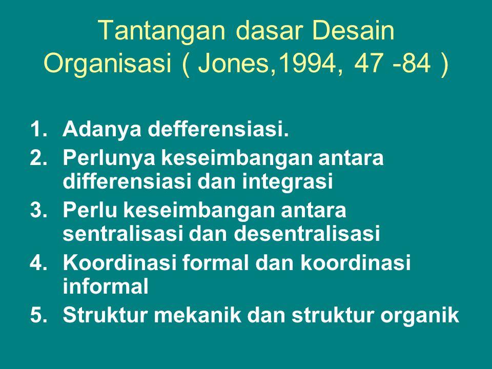 Tantangan dasar Desain Organisasi ( Jones,1994, 47 -84 ) 1.Adanya defferensiasi.