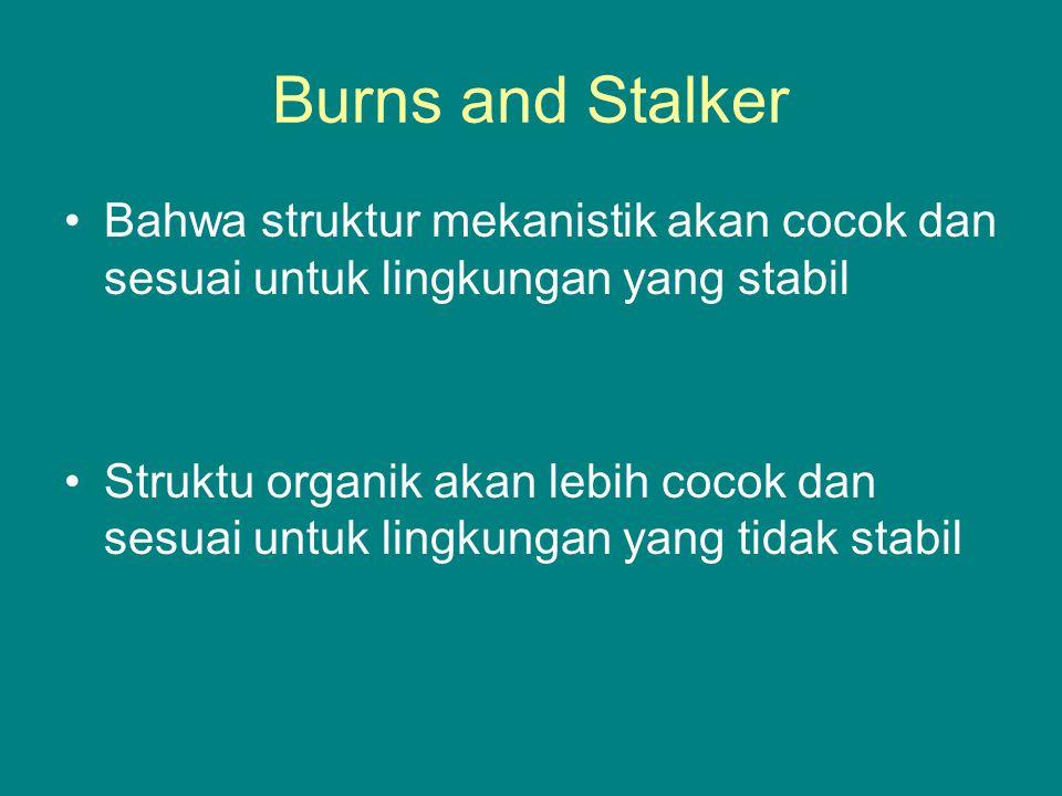 Burns and Stalker Bahwa struktur mekanistik akan cocok dan sesuai untuk lingkungan yang stabil Struktu organik akan lebih cocok dan sesuai untuk lingkungan yang tidak stabil