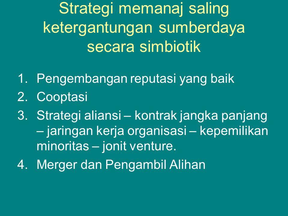 Strategi memanaj saling ketergantungan sumberdaya secara simbiotik 1.Pengembangan reputasi yang baik 2.Cooptasi 3.Strategi aliansi – kontrak jangka panjang – jaringan kerja organisasi – kepemilikan minoritas – jonit venture.