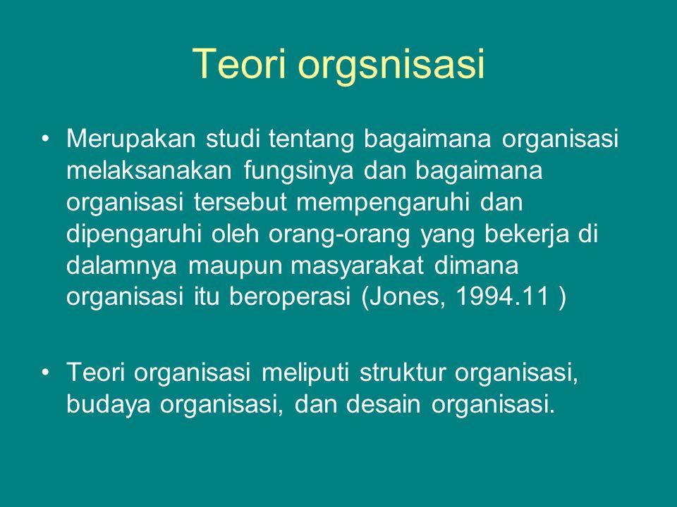 Teori orgsnisasi Merupakan studi tentang bagaimana organisasi melaksanakan fungsinya dan bagaimana organisasi tersebut mempengaruhi dan dipengaruhi oleh orang-orang yang bekerja di dalamnya maupun masyarakat dimana organisasi itu beroperasi (Jones, 1994.11 ) Teori organisasi meliputi struktur organisasi, budaya organisasi, dan desain organisasi.