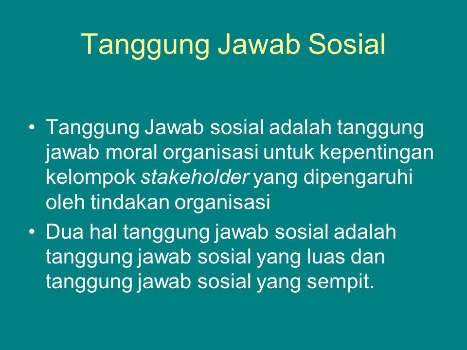 Tanggung Jawab Sosial Tanggung Jawab sosial adalah tanggung jawab moral organisasi untuk kepentingan kelompok stakeholder yang dipengaruhi oleh tindakan organisasi Dua hal tanggung jawab sosial adalah tanggung jawab sosial yang luas dan tanggung jawab sosial yang sempit.