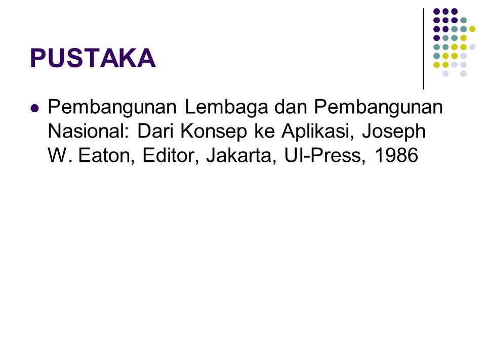 PUSTAKA Pembangunan Lembaga dan Pembangunan Nasional: Dari Konsep ke Aplikasi, Joseph W. Eaton, Editor, Jakarta, UI-Press, 1986