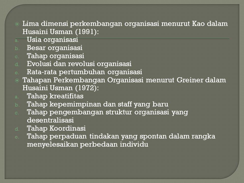  Lima dimensi perkembangan organisasi menurut Kao dalam Husaini Usman (1991): a. Usia organisasi b. Besar organisasi c. Tahap organisasi d. Evolusi d