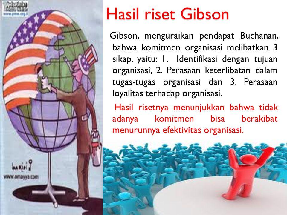 Hasil riset Gibson Gibson, menguraikan pendapat Buchanan, bahwa komitmen organisasi melibatkan 3 sikap, yaitu: 1. Identifikasi dengan tujuan organisas
