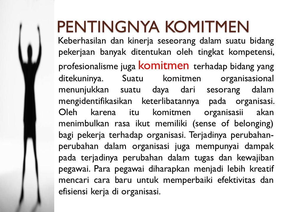 PENGERTIAN KOMITMEN Luthans (2006) mengatakan sebagai sikap, komitmen organisasi paling sering didefenisikan sebagai berikut: 1.