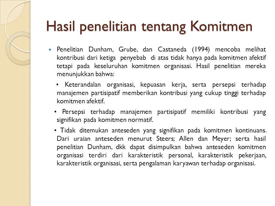 Hasil penelitian tentang Komitmen Penelitian Dunham, Grube, dan Castaneda (1994) mencoba melihat kontribusi dari ketiga penyebab di atas tidak hanya p