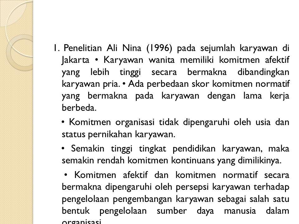 1. Penelitian Ali Nina (1996) pada sejumlah karyawan di Jakarta Karyawan wanita memiliki komitmen afektif yang lebih tinggi secara bermakna dibandingk