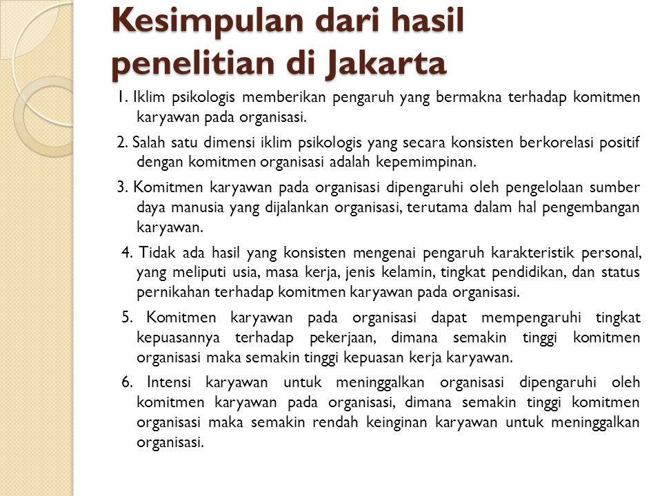 Kesimpulan dari hasil penelitian di Jakarta 1. Iklim psikologis memberikan pengaruh yang bermakna terhadap komitmen karyawan pada organisasi. 2. Salah