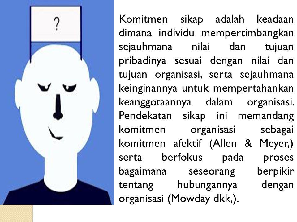 3 ) Penyebab komitmen normatif terdiri dari pengalaman individu sebelum masuk ke dalam organisasi (pengalaman dalam keluarga atau sosialisasi budaya) serta pengalaman sosialisasi selama berada dalam organisasi.
