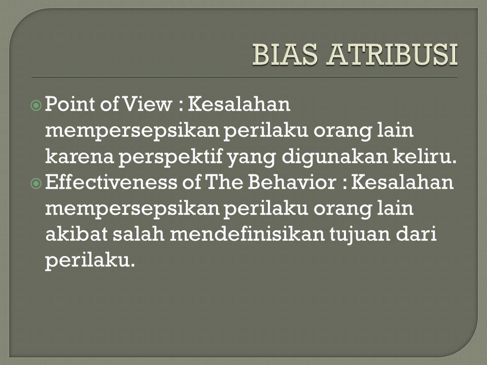  Point of View : Kesalahan mempersepsikan perilaku orang lain karena perspektif yang digunakan keliru.