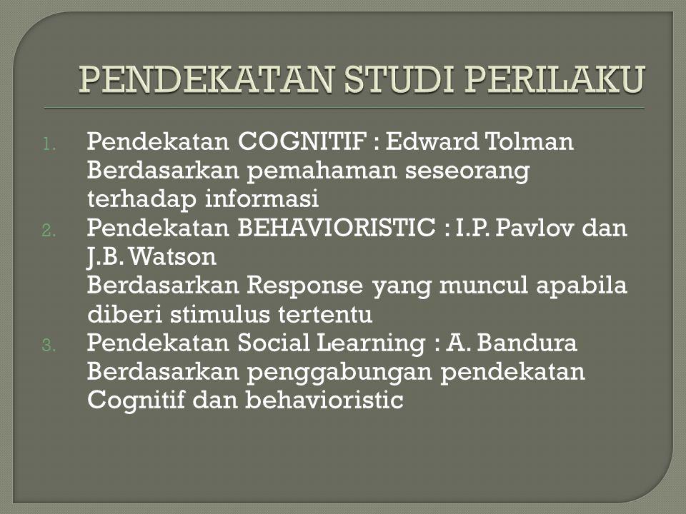 1.Pendekatan COGNITIF : Edward Tolman Berdasarkan pemahaman seseorang terhadap informasi 2.