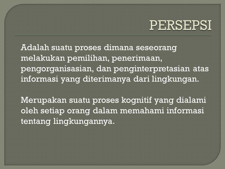  Karakteristik yang Mempersepsikan (Characteristics of the perceiver)  Karakteristik yang dipersepsikan (Characteristics of the perceived)  Kontek Situasi ( Situation Context)