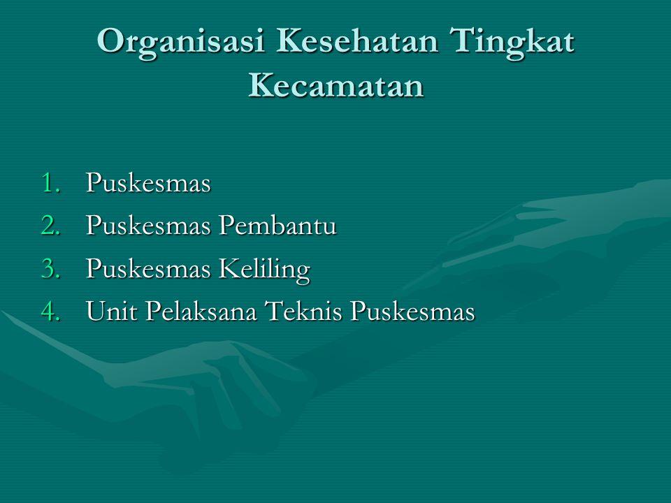 Organisasi Kesehatan Tingkat Kecamatan 1.Puskesmas 2.Puskesmas Pembantu 3.Puskesmas Keliling 4.Unit Pelaksana Teknis Puskesmas