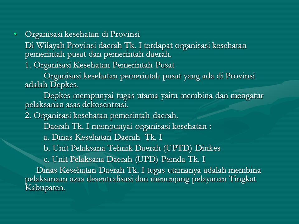 Organisasi kesehatan di ProvinsiOrganisasi kesehatan di Provinsi Di Wilayah Provinsi daerah Tk. I terdapat organisasi kesehatan pemerintah pusat dan p