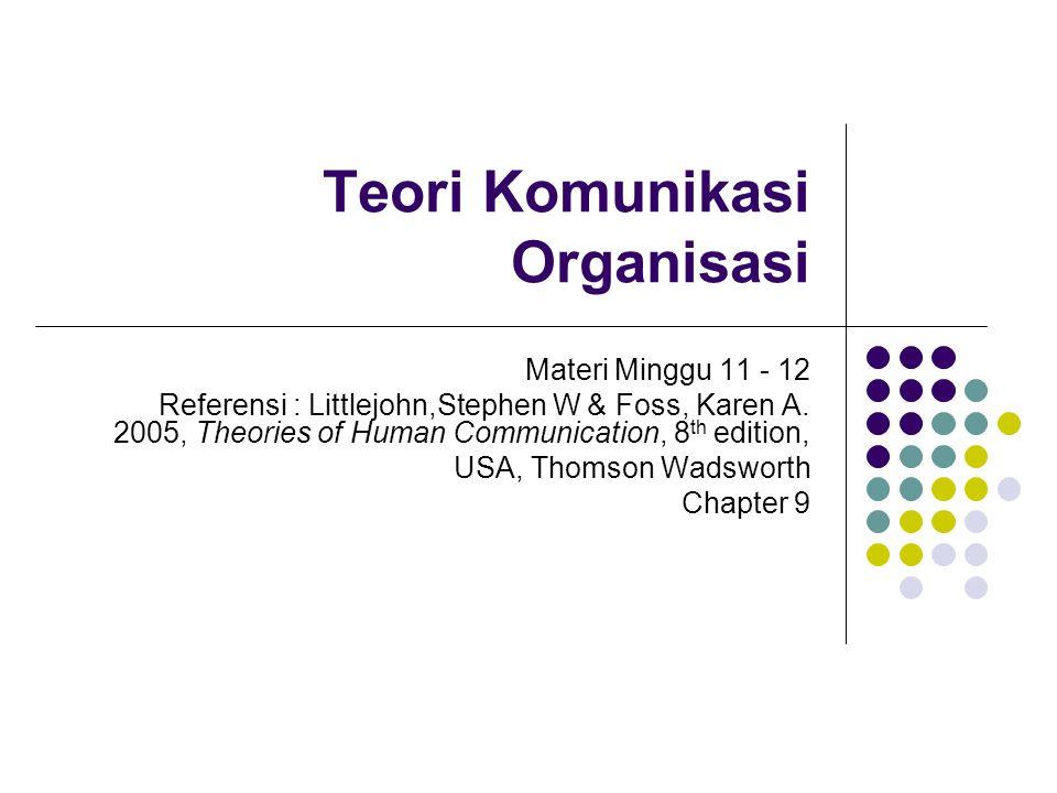 Teori Komunikasi Organisasi Materi Minggu 11 - 12 Referensi : Littlejohn,Stephen W & Foss, Karen A. 2005, Theories of Human Communication, 8 th editio
