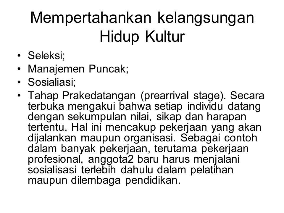 Mempertahankan kelangsungan Hidup Kultur Seleksi; Manajemen Puncak; Sosialiasi; Tahap Prakedatangan (prearrival stage).