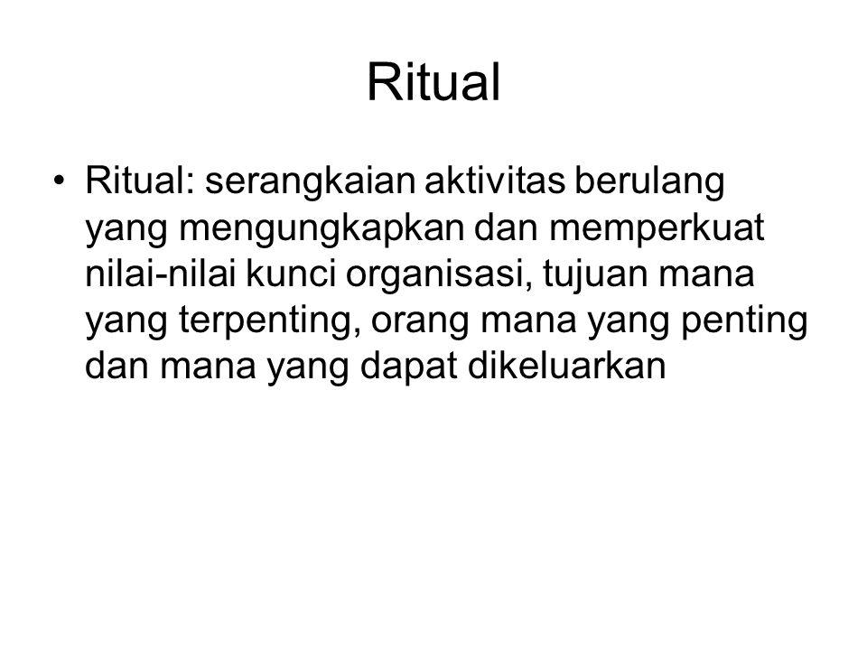 Ritual Ritual: serangkaian aktivitas berulang yang mengungkapkan dan memperkuat nilai-nilai kunci organisasi, tujuan mana yang terpenting, orang mana yang penting dan mana yang dapat dikeluarkan