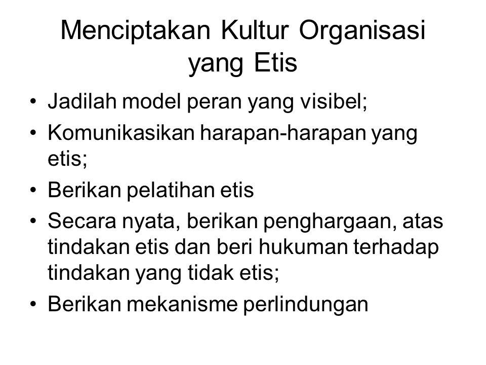 Menciptakan Kultur Organisasi yang Etis Jadilah model peran yang visibel; Komunikasikan harapan-harapan yang etis; Berikan pelatihan etis Secara nyata, berikan penghargaan, atas tindakan etis dan beri hukuman terhadap tindakan yang tidak etis; Berikan mekanisme perlindungan