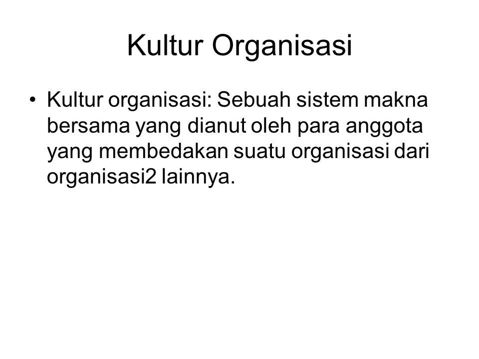 Kultur Organisasi Kultur organisasi: Sebuah sistem makna bersama yang dianut oleh para anggota yang membedakan suatu organisasi dari organisasi2 lainnya.
