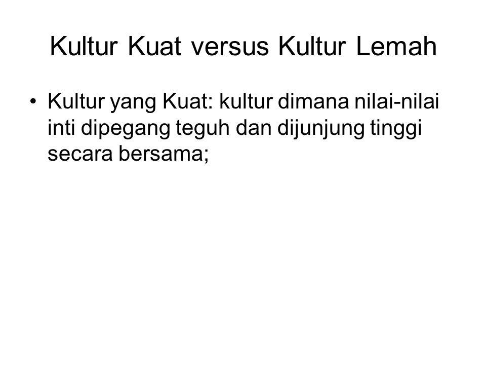 Kultur Kuat versus Kultur Lemah Kultur yang Kuat: kultur dimana nilai-nilai inti dipegang teguh dan dijunjung tinggi secara bersama;