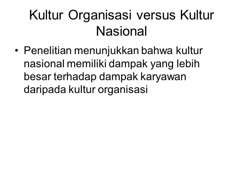 Kultur Organisasi versus Kultur Nasional Penelitian menunjukkan bahwa kultur nasional memiliki dampak yang lebih besar terhadap dampak karyawan daripada kultur organisasi