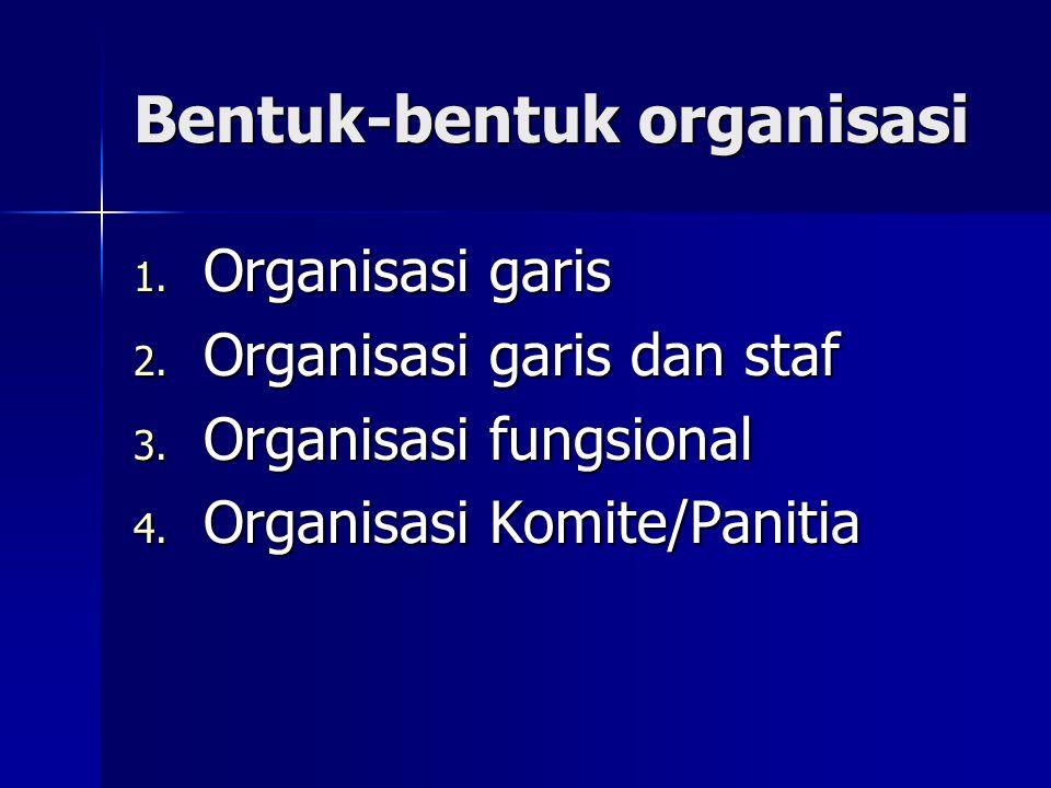 Bentuk-bentuk organisasi 1. Organisasi garis 2. Organisasi garis dan staf 3. Organisasi fungsional 4. Organisasi Komite/Panitia