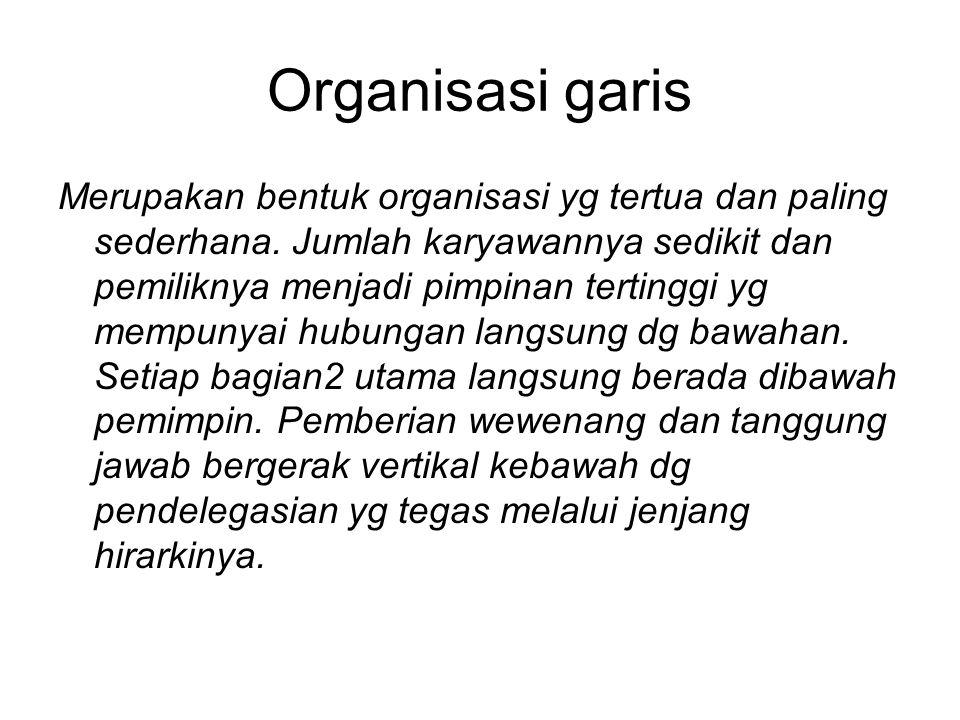 Organisasi garis Merupakan bentuk organisasi yg tertua dan paling sederhana. Jumlah karyawannya sedikit dan pemiliknya menjadi pimpinan tertinggi yg m