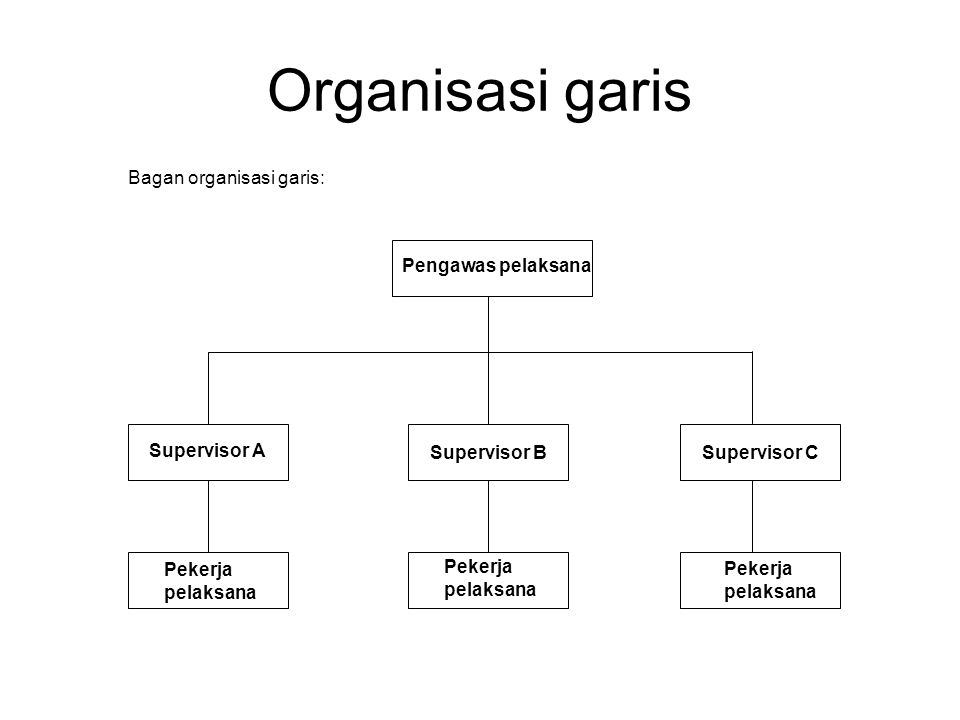 Organisasi garis Pengawas pelaksana Supervisor A Supervisor BSupervisor C Pekerja pelaksana Pekerja pelaksana Pekerja pelaksana Bagan organisasi garis: