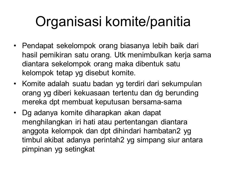 Organisasi komite/panitia Pendapat sekelompok orang biasanya lebih baik dari hasil pemikiran satu orang. Utk menimbulkan kerja sama diantara sekelompo