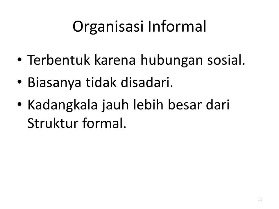 Organisasi Informal Terbentuk karena hubungan sosial. Biasanya tidak disadari. Kadangkala jauh lebih besar dari Struktur formal. 15