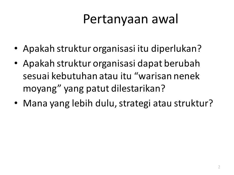 """Pertanyaan awal Apakah struktur organisasi itu diperlukan? Apakah struktur organisasi dapat berubah sesuai kebutuhan atau itu """"warisan nenek moyang"""" y"""