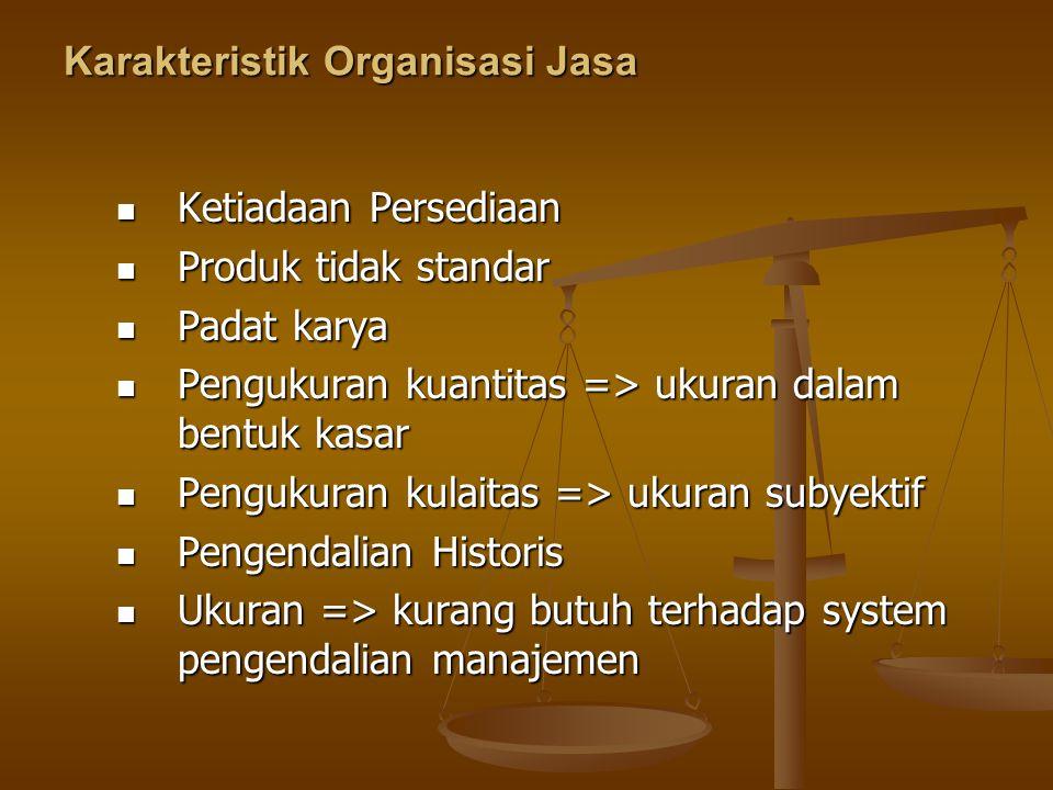 Karakteristik Organisasi Jasa Ketiadaan Persediaan Ketiadaan Persediaan Produk tidak standar Produk tidak standar Padat karya Padat karya Pengukuran k