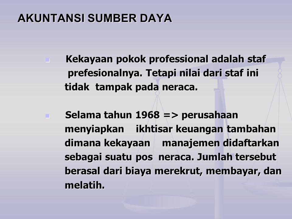 AKUNTANSI SUMBER DAYA Kekayaan pokok professional adalah staf Kekayaan pokok professional adalah staf prefesionalnya. Tetapi nilai dari staf ini prefe