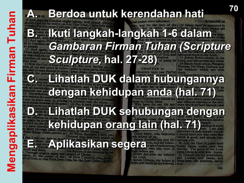 A.Berdoa untuk kerendahan hati B.Ikuti langkah-langkah 1-6 dalam Gambaran Firman Tuhan (Scripture Sculpture, hal. 27-28) C.Lihatlah DUK dalam hubungan