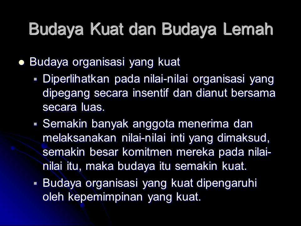 Budaya Kuat dan Budaya Lemah Budaya organisasi yang kuat Budaya organisasi yang kuat  Diperlihatkan pada nilai-nilai organisasi yang dipegang secara
