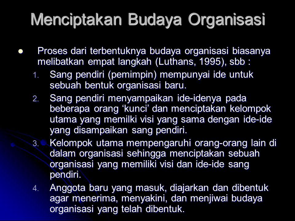 Menciptakan Budaya Organisasi Proses dari terbentuknya budaya organisasi biasanya melibatkan empat langkah (Luthans, 1995), sbb : Proses dari terbentu