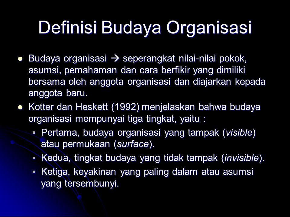 Definisi Budaya Organisasi Budaya organisasi  seperangkat nilai-nilai pokok, asumsi, pemahaman dan cara berfikir yang dimiliki bersama oleh anggota o