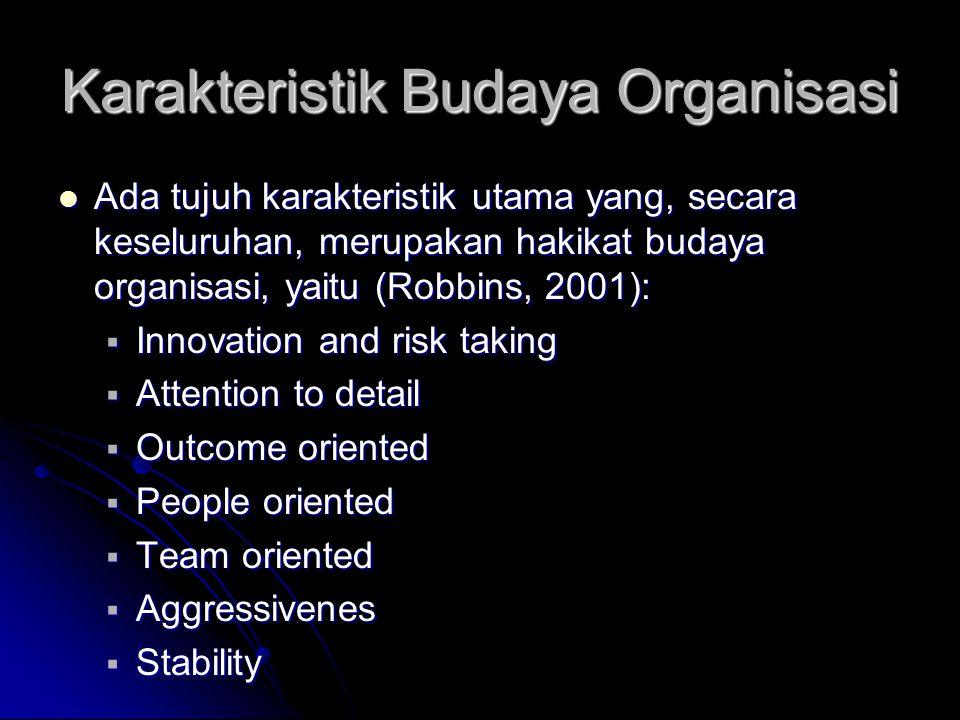 Karakteristik Budaya Organisasi Ada tujuh karakteristik utama yang, secara keseluruhan, merupakan hakikat budaya organisasi, yaitu (Robbins, 2001): Ad