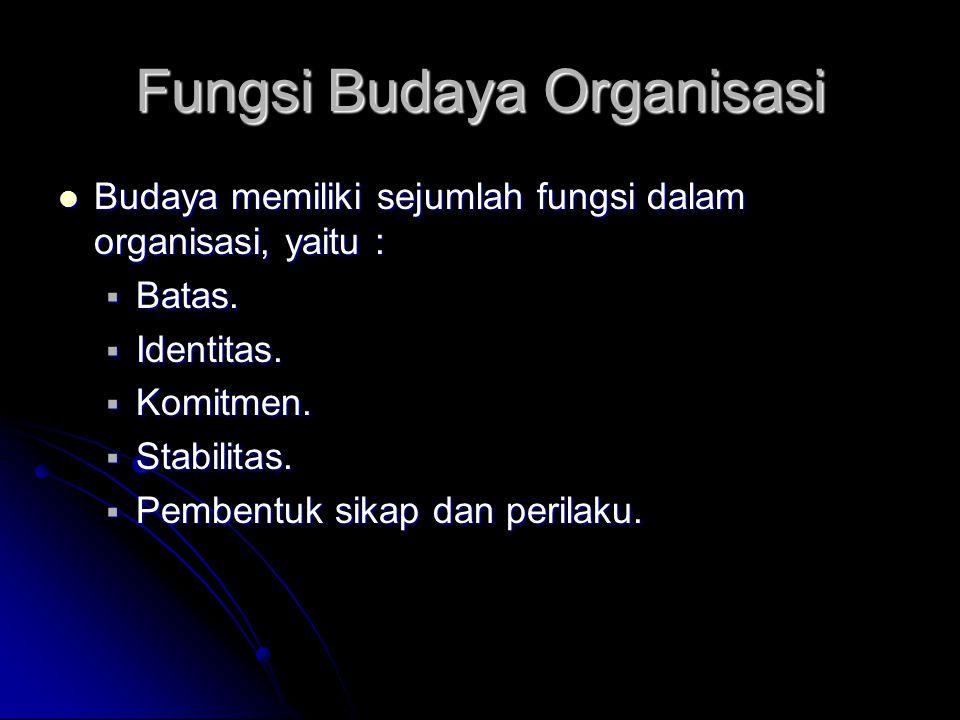 Fungsi Budaya Organisasi Budaya memiliki sejumlah fungsi dalam organisasi, yaitu : Budaya memiliki sejumlah fungsi dalam organisasi, yaitu :  Batas.