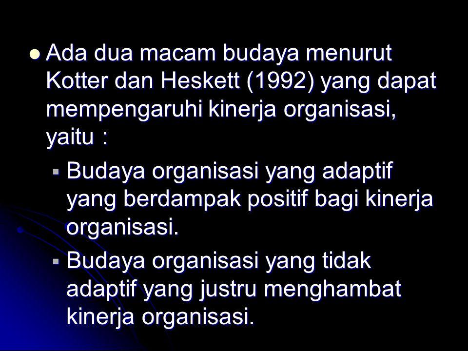 Ada dua macam budaya menurut Kotter dan Heskett (1992) yang dapat mempengaruhi kinerja organisasi, yaitu : Ada dua macam budaya menurut Kotter dan Hes