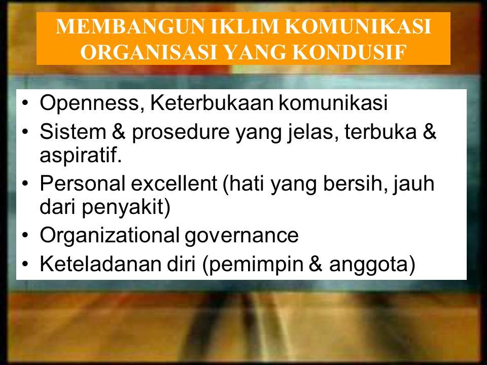 MEMBANGUN IKLIM KOMUNIKASI ORGANISASI YANG KONDUSIF Openness, Keterbukaan komunikasi Sistem & prosedure yang jelas, terbuka & aspiratif. Personal exce