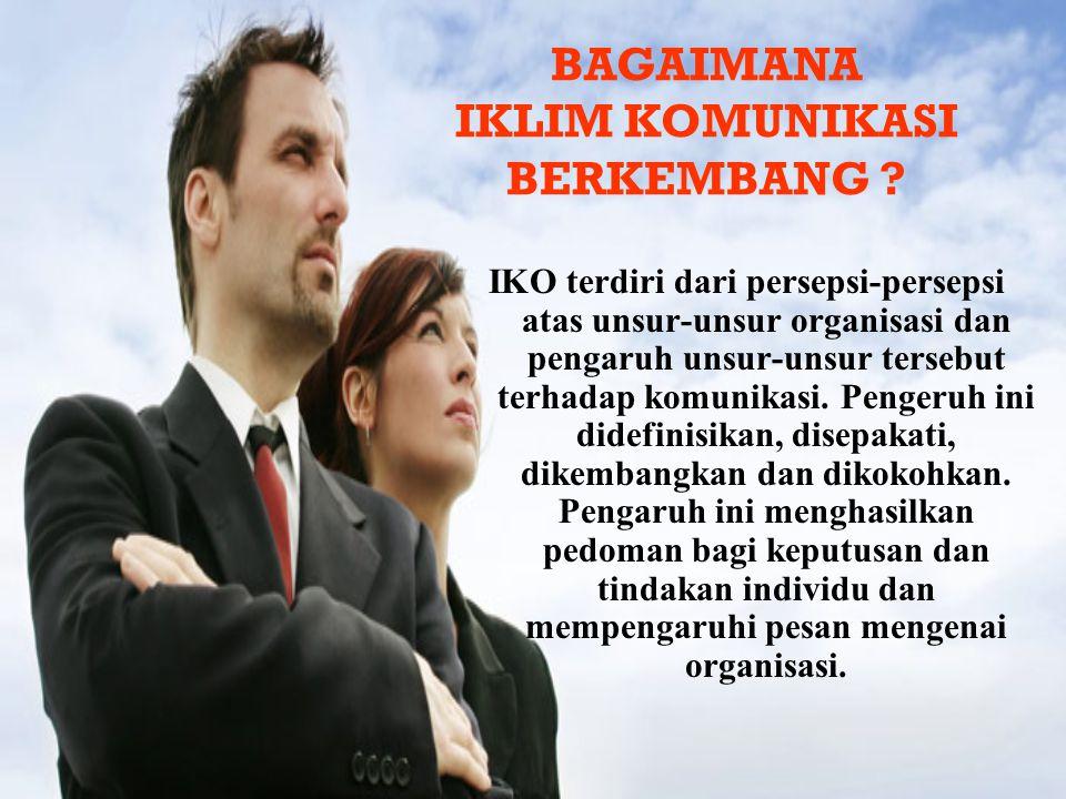IKO terdiri dari persepsi-persepsi atas unsur-unsur organisasi dan pengaruh unsur-unsur tersebut terhadap komunikasi. Pengeruh ini didefinisikan, dise